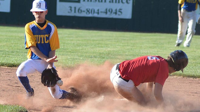 Hutchinson shortstop Nash Wray awaits a throw to try and stop a Newton base stealer during play Tuesday in Newton.