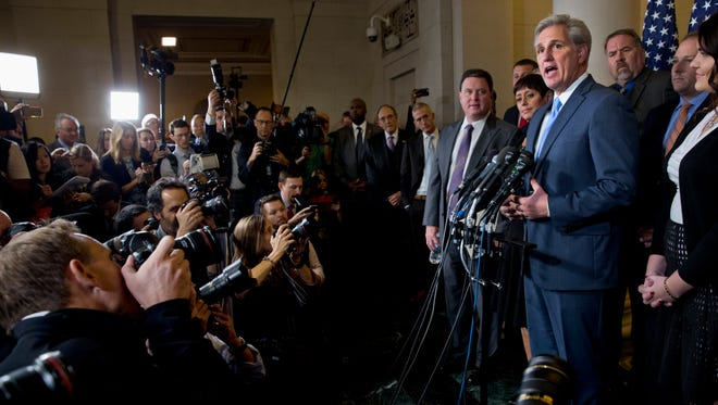 Majority Leader Kevin McCarthy answers a question during a news conference on Capitol Hill on Oct. 8, 2015, after stepping down as a nominee for House speaker to replace John Boehner.