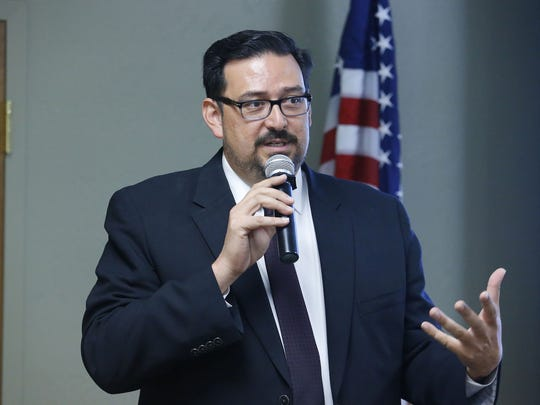 County Recorder candidate Adrian Fontes  speaks during the Surprise Tea Party Patriots Candidates Forum Oct. 18, 2016, in Sun City West.