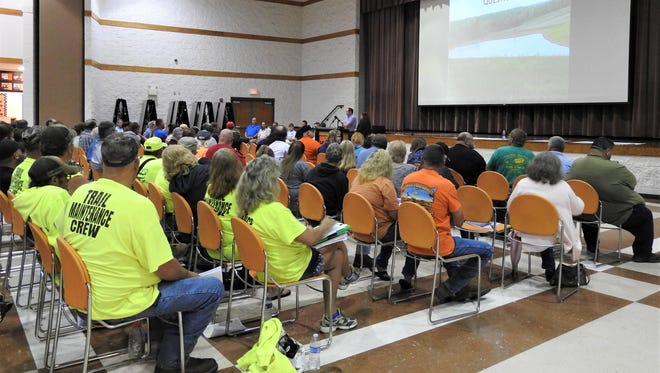 More than 100 people attended Tuesday's meeting with the Ohio Department of Natural Resources about strip mining in Perry State Forest.