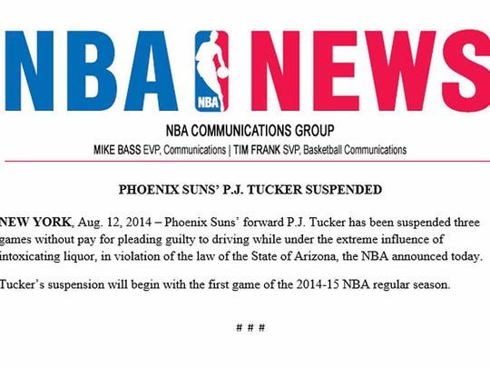 The news release sent by the team announcing the three-game suspension for P.J. Tucker.