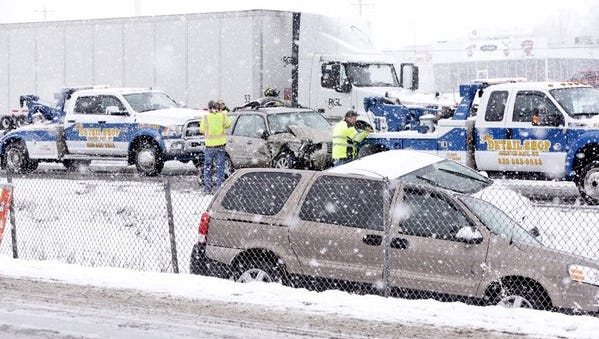 Several cars and a semitrailer were involved in a weather-related crash on Interstate 41 south of Green Bay.