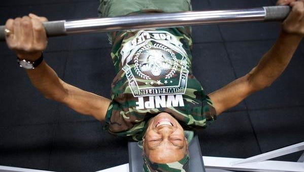 Willie Murphy, 77, might weigh only 105 pounds, but that doesn't stop her from bench-pressing  215 pounds at the Maplewood YMCA in Rochester, N.Y., this week.