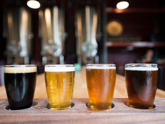 A flight of beer is served at Maxline Brewing in Fort Collins.