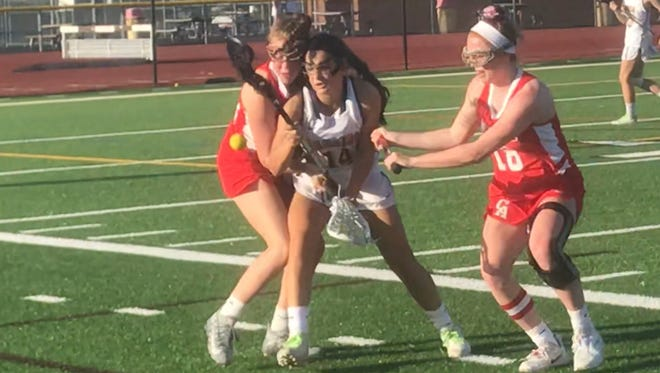 Canandaigua defenders Morgan Szczepkowski, left, and Meghan Ellis close in on Spencerport junior Natalie Choate, who had three goals in the Rangers' 13-6 win.