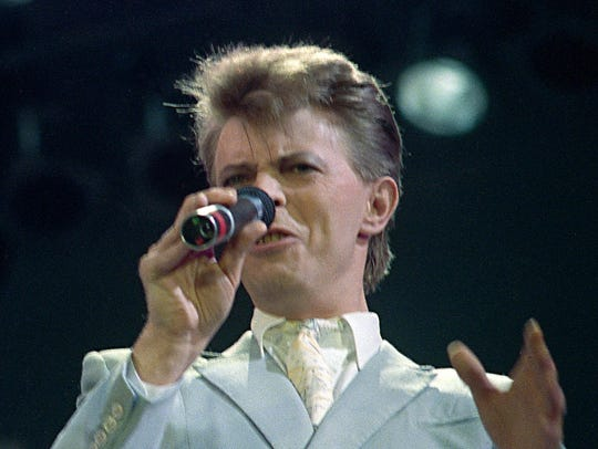 British singer David Bowie performs at Live Aid famine