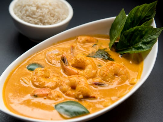 SEAK, a restaurant in Edgewater, NJ, serves Southeast Asian cuisine. Red Curry with Rice and Shrimp shown on Thursday March 08, 2018.