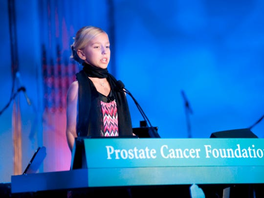 Winter Vinecki  speaks at a Prostate Cancer Foundation event at age 10. Photo courtesy of Prostate Cancer Foundation
