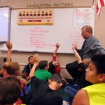 Dean Jardee leads a fourth-grade class through its math lesson Thursday afternoon at Whittier Elementary School.