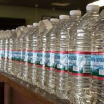 Bottled water lined up at BCPD Pizza on Tuesday.