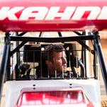NASCAR driver Kasey Kahne prepares to run 410 sprint car time trials Saturday night March 26, 2016 at Lincoln Speedway.