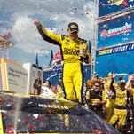 Sprint Cup Series driver Matt Kenseth (20) celebrates winning the New Hampshire 301 at the New Hampshire Motor Speedway. Jerome Miron-USA TODAY Sports