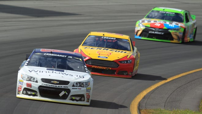 Dale Earnhardt Jr. front, Joey Logano and Kyle Busch agree that racing in the Chase is more stressful than enjoyable.