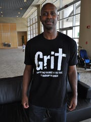 Juan Pierre wears one of the T-shirts available on his website, drivenforchrist.com.