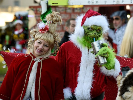 The Grinch gets ready for the Pensacola Christmas Parade