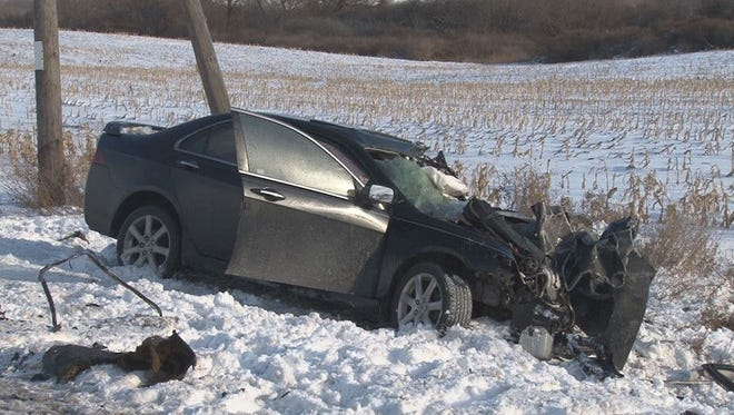 One person died following a two-vehicle crash in the town of Stafford Thursday afternoon.