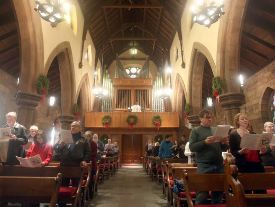 Parishioners attend a Christmas day service at the