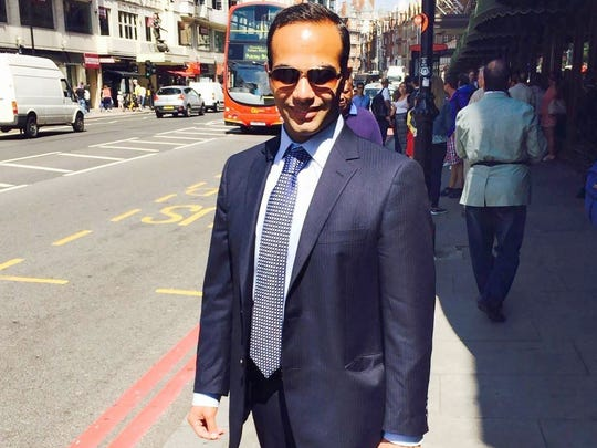 "This undated image posted on his Linkedin profile shows George Papadopoulos posing on a street of London.    Former Trump campaign aide, George Papadopoulos, pleaded guilty to lying to the FBI about his Kremlin-related contacts, and more specifically on a Moscow-linked professor who was offering ""dirt"" on Trump's election rival Hillary Clinton."