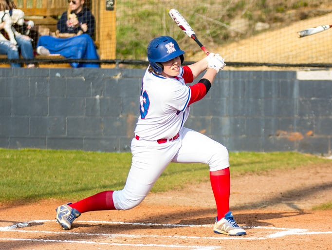 Harpeth's Win Seagraves drives in a run against Nashville