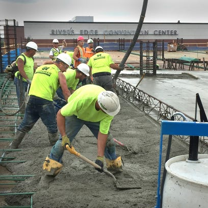 Forms are set for concrete at the new River's Edge Convention Center parking ramp in St. Cloud.