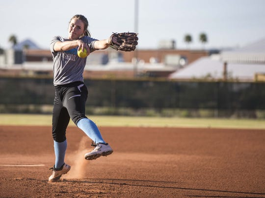 Veritas Prep's softball pitcher Lainey Stephenson is a finalist for the 2016 Arizona Sports Awards Best Record-Breaking Performance Award.