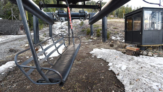 A chairlift is seen at Homewood Ski Area near Tahoe City on Feb. 10, 2015.