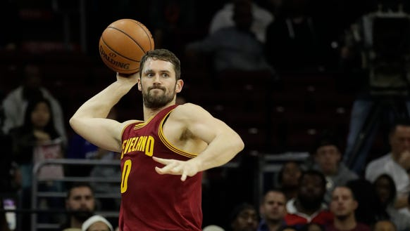 Cleveland Cavaliers' Kevin Love in action during an