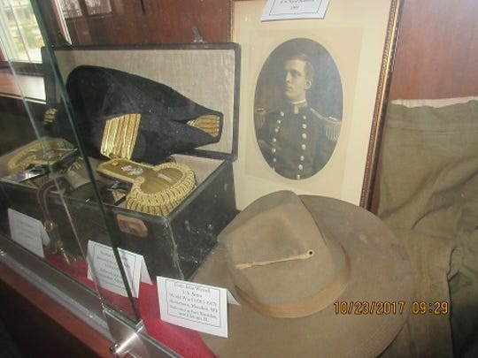 War memorabilia is on display at the Town Hall Library in North Lake in honor of veterans.