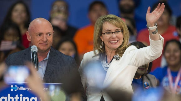 Mark Kelly and former Arizona Rep. Gabby Giffords.