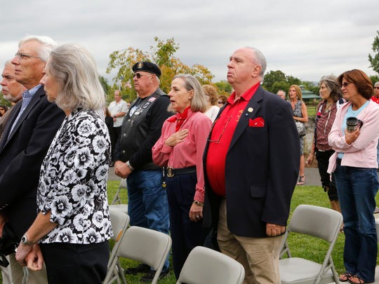 Upper Nyack residents Alison and Jefferson Crowther, who lost their son, Welles Crowther, mark the 13th anniversary of the Sept. 11 attacks at Haverstraw Bay County Park, the site of the county's memorial to the locals lost that day, Sept. 11, 2014 in West Haverstraw.