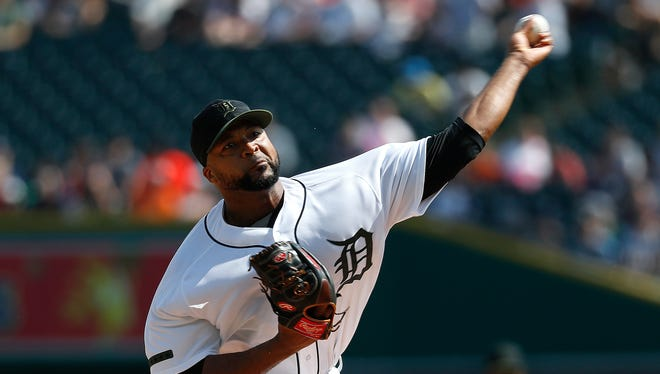 Tigers pitcher Francisco Liriano throws against the White Sox in the first inning on Saturday, May 26, 2018, at Comerica Park.