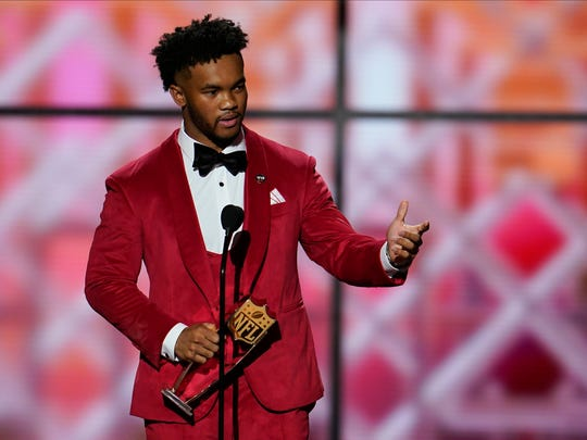 AP Offensive Rookie of the Year Arizona Cardinals' Kyler Murray speaks at the NFL Honors football award show Saturday, Feb. 1, 2020, in Miami.