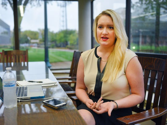 Sara Little, third year law student, talks about how she feels about the University of South Dakota's law school program possibly being moved to Sioux Falls, Monday, Oct. 2, in Vermillion. A USD Law School Task Force Friday will make recommendations about where to house the school in the future.