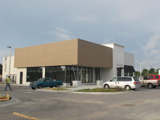 Chipotle Mexican Grill and Pei Wei Asian Diner are sharing a building under construction next to Pollo Tropical, right, in Restaurant Row on Collier Boulevard at U.S. 41 East.