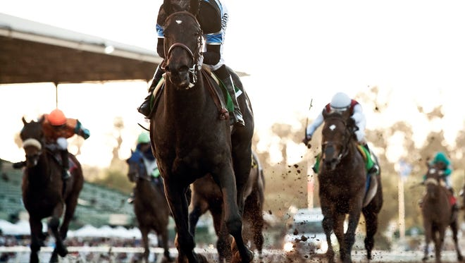 Shared Belief and jockey Mike Smith make easy work of the $1,000,000 Grade I Santa Anita Handicap Saturday, March 7, 2015 Santa Anita in Arcadia, CA.