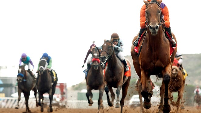 Spendthrift Farm's Beholder and jockey Gary Stevens win the Grade I, $300,000 Clement L. Hirsch Stakes, Saturday, Aug. 1, 2015 at Del Mar Thoroughbred Club, Del Mar, Calif. (Benoit Photo via AP)