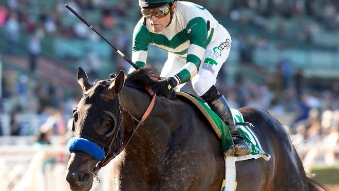 Mor Spirit and jockey Gary Stevens win the Grade II $150,000 Robert B. Lewis Stakes Saturday, February 6, 2016 at Santa Anita Park, Arcadia, CA.©Benoit Photo