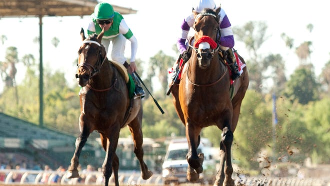 Nyquist, right, out-dueled Exaggerator in Monday's San Vicente Stakes at Santa Anita Park.