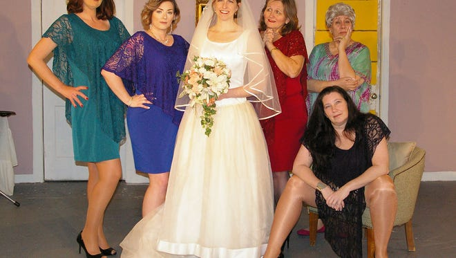 """The cast of """"Always a Bridesmaid"""": (l to r) Amy Snider, Misty Rogers, Beth Kirby, Debbie Striclyn, Jan Dial and Shellene Kent."""