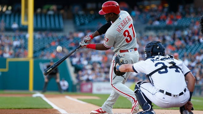 Philadelphia Phillies' Odubel Herrera bats against the Detroit Tigers in the first inning of a baseball game Monday. Herrera was pulled after his at-bat in the seventh after he failed to run out a hit back to the pitcher.