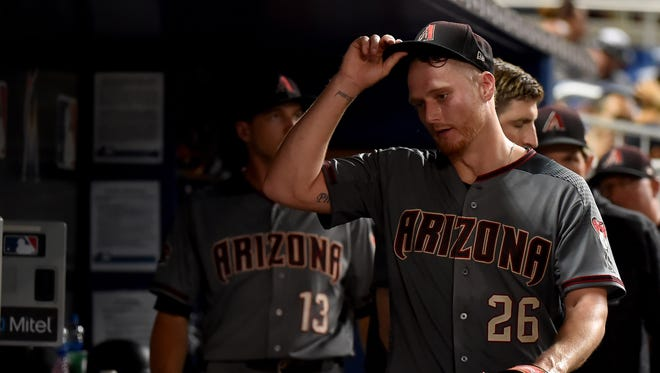 Jun 25, 2018: Arizona Diamondbacks starting pitcher Shelby Miller (26) reacts in the dugout after being taken out of the game in the fourth inning against the Miami Marlins at Marlins Park.