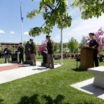 State Patrol Capt. Tony Burell speaks during the National Law Enforcement Officers Memorial Ceremony Wednesday May 18, 2016 in Hamilton Park in Fond du Lac.
