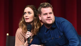 """Emily Blunt and James Corden ham it up onstage during the """"Into the Woods"""" All Guild Q & A at AMPAS Samuel Goldwyn Theater on Thursday, in Beverly Hills.  Corden will take over hosting """"The Late, Late Show"""" from Craig Ferguson in March 2015."""