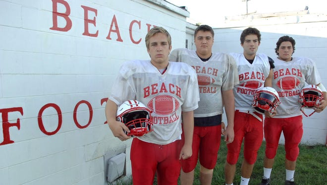 (SPORTS)             08/22/16           Pt Pleasant, NJ Pt. Pleasant Beach High School's (from left) Luke Fraunheim, Cody Watkins, Connor Kells and Cody Ligouri prepare for the 2016 football season. Frank Galipo/Correspondent ASB 0828 FB Tab Point Beach B