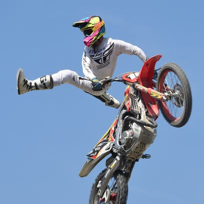 Nick Hickey from Brigade Action Sports Entertainment performs during Saturday's show at the Dutchess County Fair.