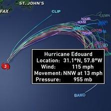 Hurricane Edouard spaghetti track