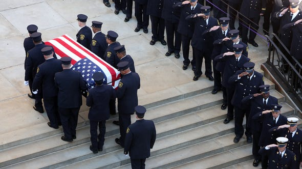 The funeral procession of FAO Daryl Gordon.