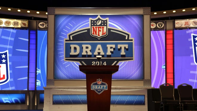 A general view of the stage and podium before the start of the 2014 NFL Draft at Radio City Music Hall.