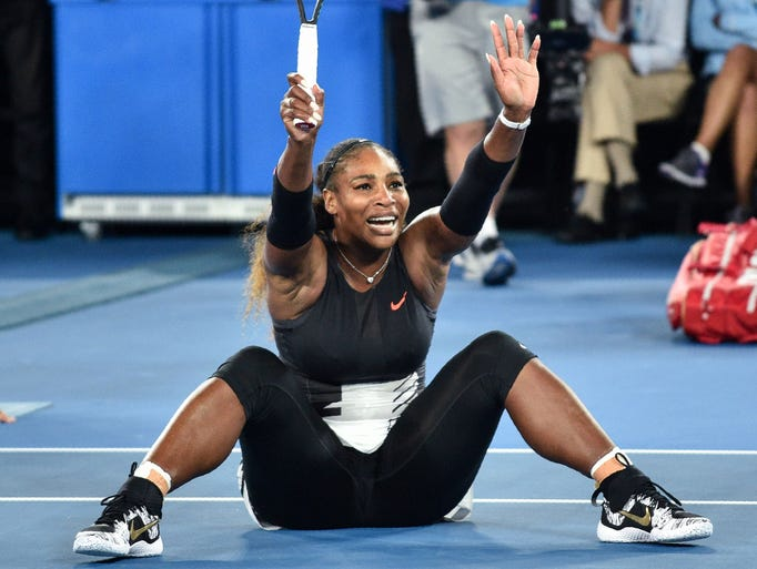 Serena Williams exults on the court after the final