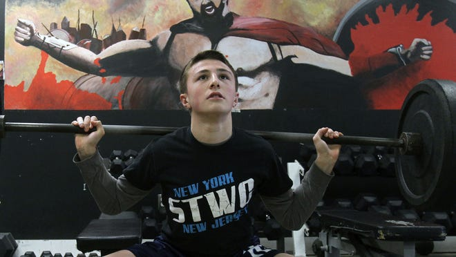 North Rockland wrestler Alex D'Angelo gets some weight work in at JVH Performance in Stony Point in advance of the state wrestling tournament. D'Angelo will compete at 120 pounds Friday and Saturday at the Times Union Center in Albany.